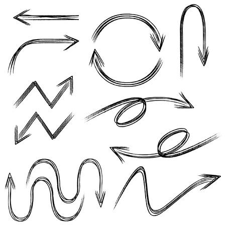 flechas curvas: flechas bosquejadas negras