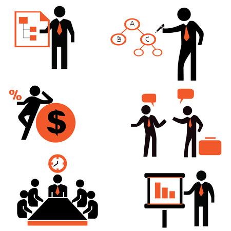 ビジネス人々 のビジネス アイコンを設定  イラスト・ベクター素材