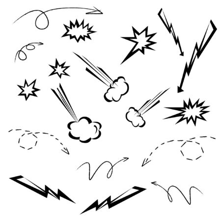 cartoon elements set, arrow and cloud set Vector