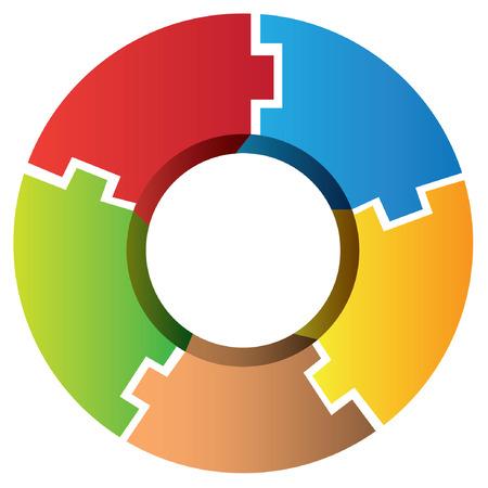 process diagram: Schema di puzzle circolare Vettoriali