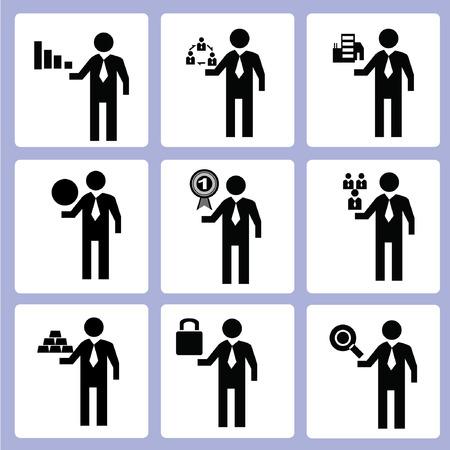 gestion documental: Hombre de negocios iconos Vectores