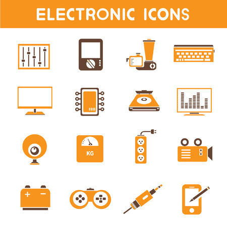 electronic icons, orange theme icons Vector