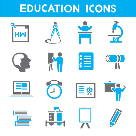 education icons, blue theme icons Illustration