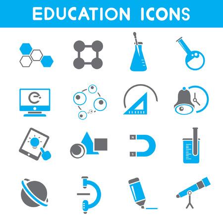 education icons, blue theme icons Illustration