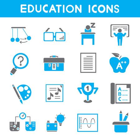 istruzione: icone di istruzione, tema icone blu