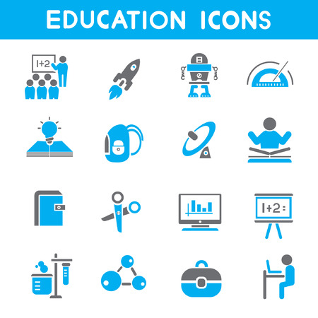 upbringing: education icons, blue theme icons Illustration