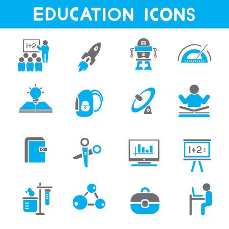 iconos educacion: iconos de la educaci�n, azul iconos de tema Vectores