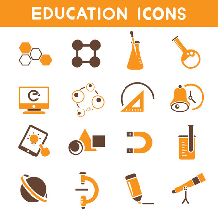 upbringing: education icons, orange theme icons Illustration