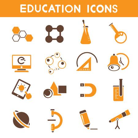 indoctrination: education icons, orange theme icons Illustration