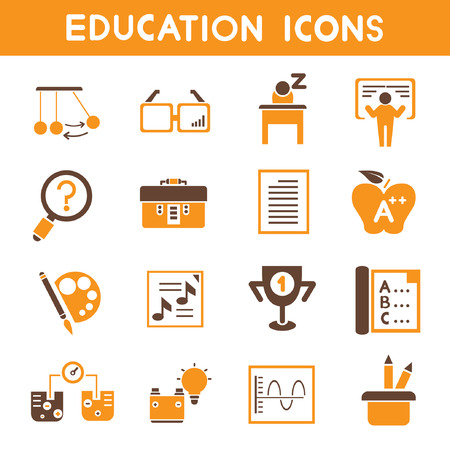 education icons, orange theme icons Illustration