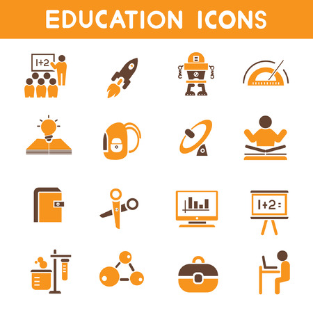 internet icons, orange theme icons Illustration