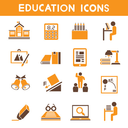 transcendence: education icons, orange theme icons Illustration