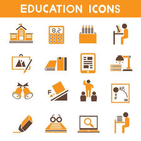 iconos educacion: iconos de la educaci�n, el tema iconos de color naranja