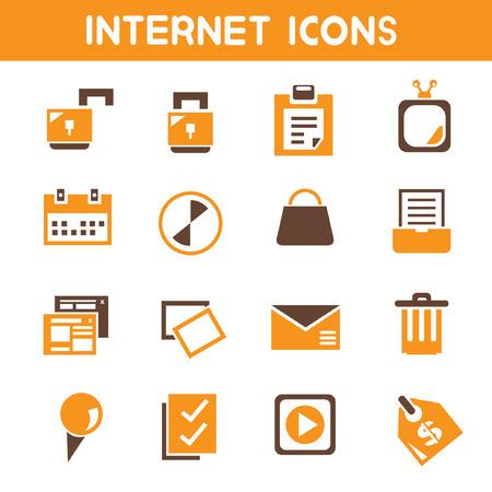 internet icons, orange theme icons Vector