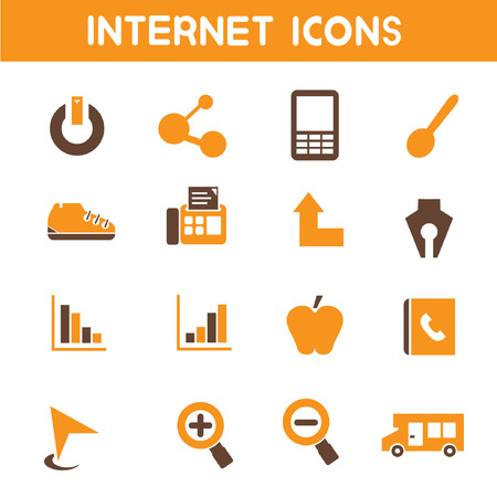 internet icons, orange theme icons Ilustrace
