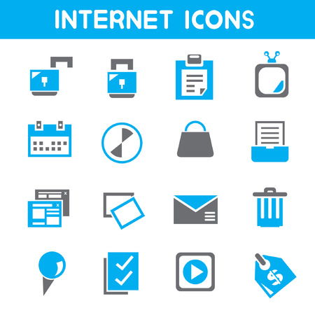 internet, blue theme icons Vector
