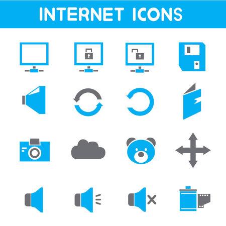 log out: internet, blue theme icons Illustration
