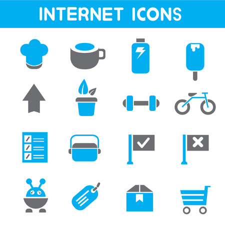 internet icons, blue theme icons Vector