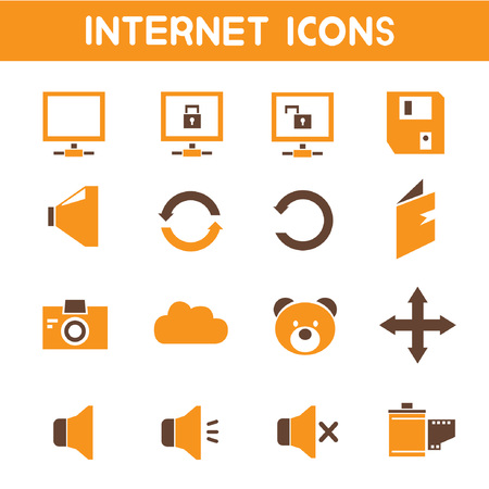 log book: internet icons, orange theme icons Illustration