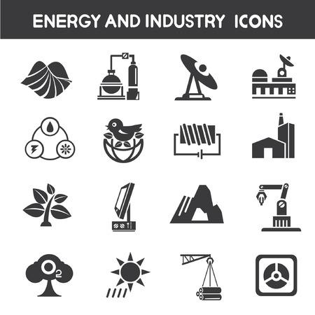 iconos energ�a: industria y energ�a iconos