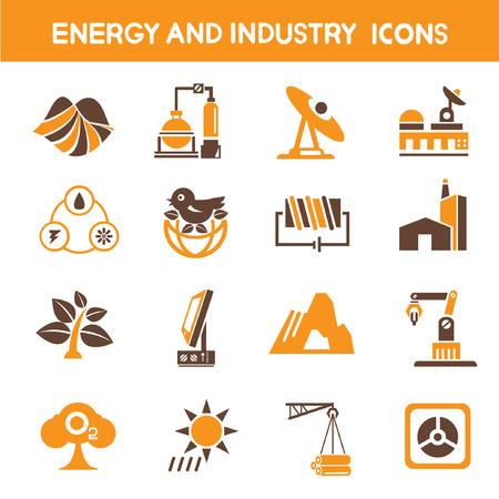 iconos energ�a: industria y energ�a iconos, iconos de tema de color naranja