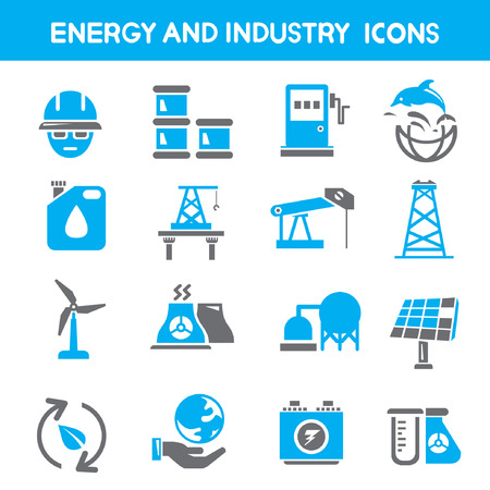 refinery engineer: industry and energy icons, blue theme icons