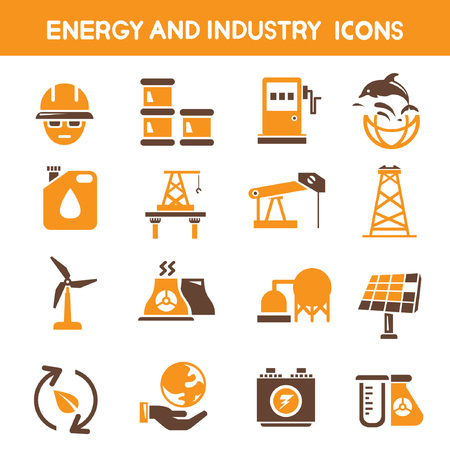 industry and energy icons, orange theme icons Vector
