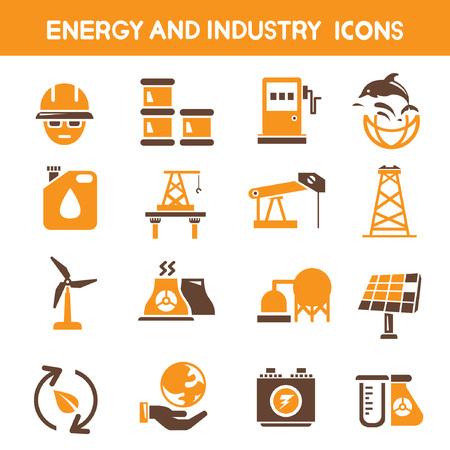 orange industry: industry and energy icons, orange theme icons Illustration