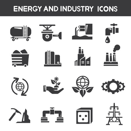 industry and energy icons Stock Vector - 25396502