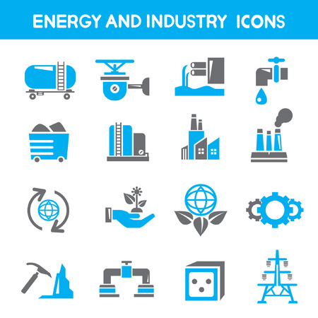industry and energy icons, blue theme icons Stock Vector - 25396505