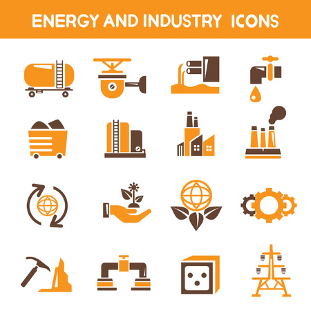 industry and energy icons, orange theme icons Stock Vector - 25396500