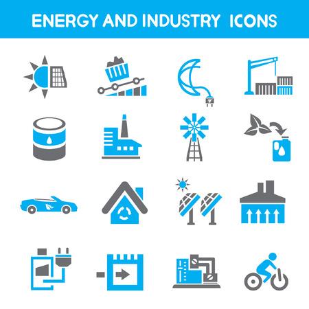 iconos energ�a: industria y energ�a iconos, azul Iconos de tema