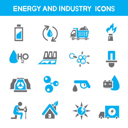 energy and industry icons, blue theme icons Vector