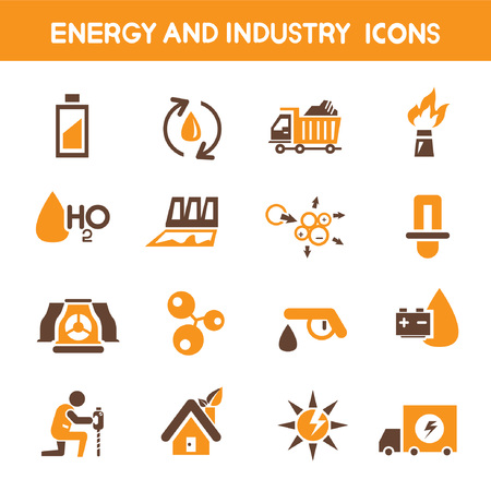 energy and industry icons, orange theme icons Vector