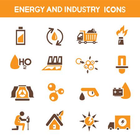 orange industry: energy and industry icons, orange theme icons