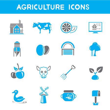 bullock: agriculture icons, blue theme icons