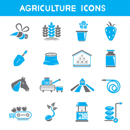 rubber tube: agriculture icons, blue theme icons