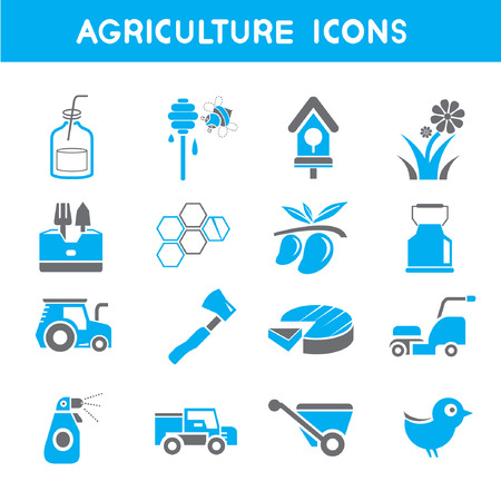 food industry: agriculture icons, blue theme icons