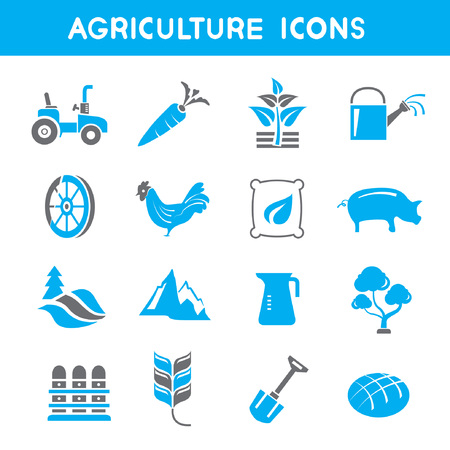 agriculture icons, blue theme icons Vector