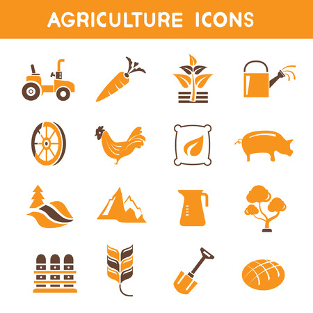 agriculture icons, orange theme icons Vector