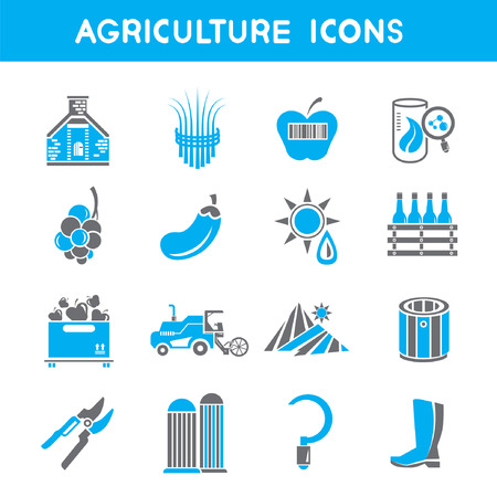 tillage: Icone di agricoltura, tema icone blu