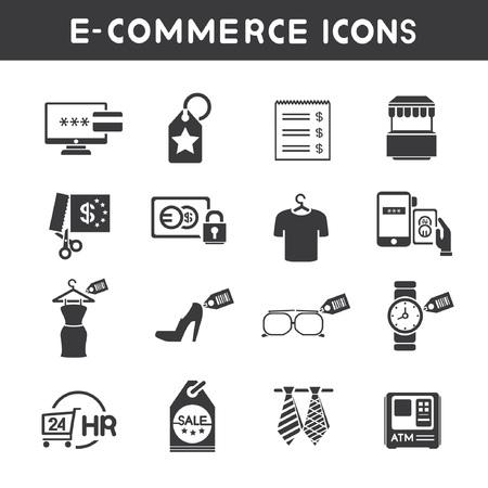 e commerce: e-commerce en shopping service iconen Stock Illustratie