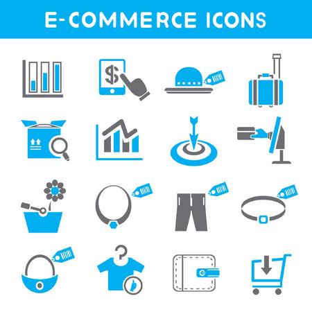 e wallet: e commerce icons, blue theme icons