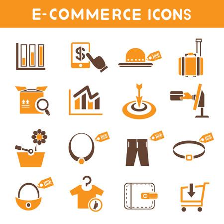 e commerce: e commerce icons, orange theme icons