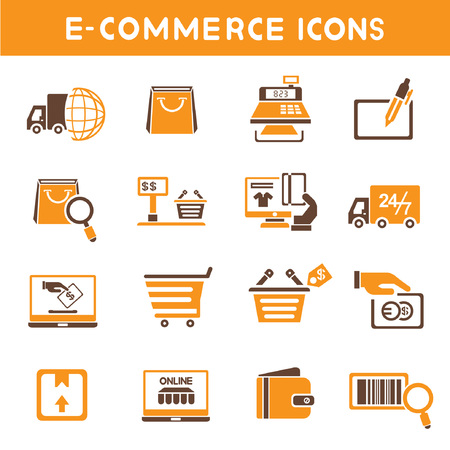 e commerce icons, orange theme icons Vector
