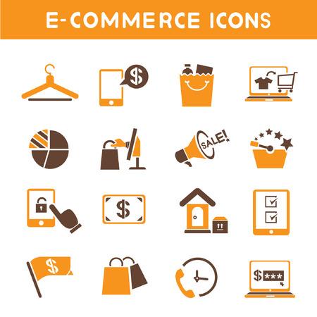 e commerce: e commerce iconen, oranje thema iconen Stock Illustratie