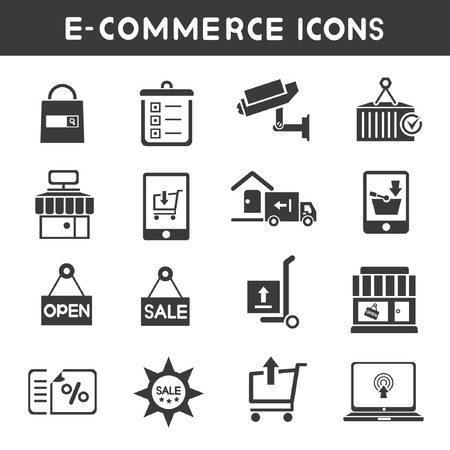 e commerce and shopping service icons Vector