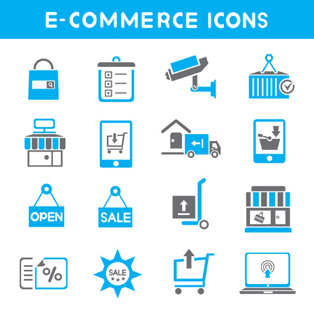 e commerce icons, blue theme icons Vector