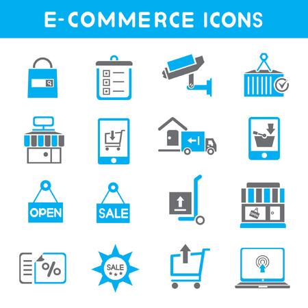 e commerce: e commerce icons, blue theme icons