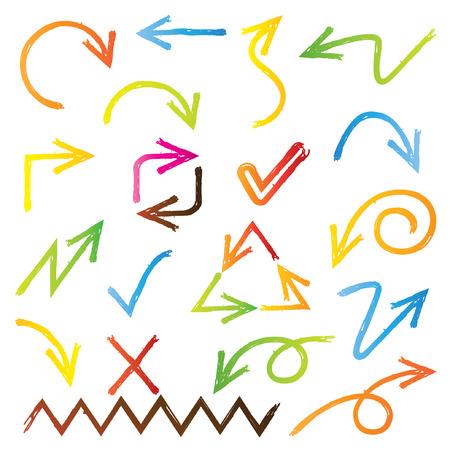 sketched arrows, colorful arrows Illustration